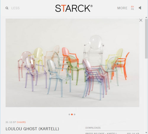 Loulou Ghost Chairs on Pillippe Starck's website