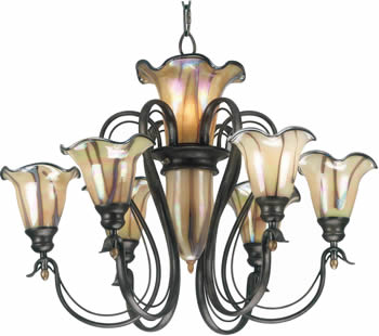 Kenroy Home 90896TS Inverness Art Nouveau Chandelier with Pale iridescent art glass, swirled with tan, milk and chocolate, finished with a chromium glass rim