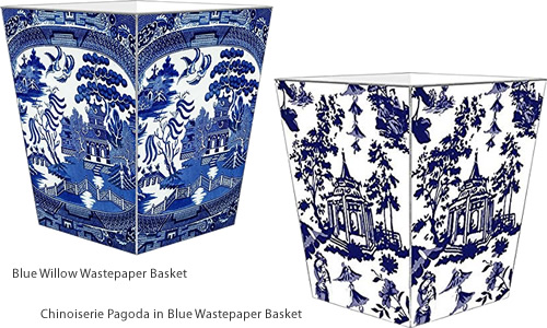 Blue Willow Wastepaper Basket and Chinoiserie Pagoda in Blue Wastepaper Basket by Marye-Kelley - Blue Willow Bathroom Accessories - myDesign42