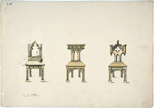Design for Three Gothic Style Wooden Chairs, British, 19th century from the Metropolitan Museum of Art - Examples of Medieval Influence on Furniture Design – myDesign42
