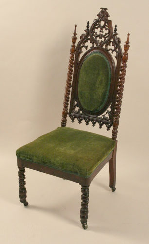 Gothic Revival side chair with decorative gothic-arch pierced back made some time after 1840 In the Missouri History Museum - Examples of Medieval Influence on Furniture Design – myDesign42