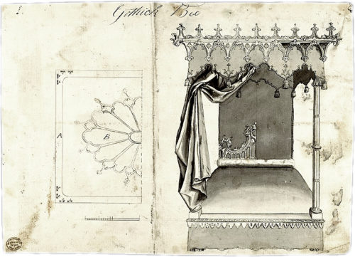 Gothick Bed from Chippendale Drawings from 1753–54 in the Metropolitan Museum of Art - Examples of Medieval Influence on Furniture Design – myDesign42