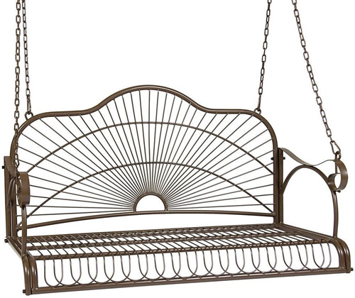 Yaheetech Powder Coated Metal Porch Swing - This metal porch swing has really great lines! It will fit even a smaller porch, at not quite four feet long. - How to choose a relaxing Porch Swings that fits your budget and personalize it to fit your style – mydesign42