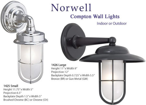 Norwell Compton Indoor or Outdoor Wall Lights The Compton Wall lamps are inspired by security lights aboard ships and on the docks. Two variations are available in Chrome or Brushed Chrome, Bronze or Gun Metal finish. - Ship Lights – Three Styles - myDesign42