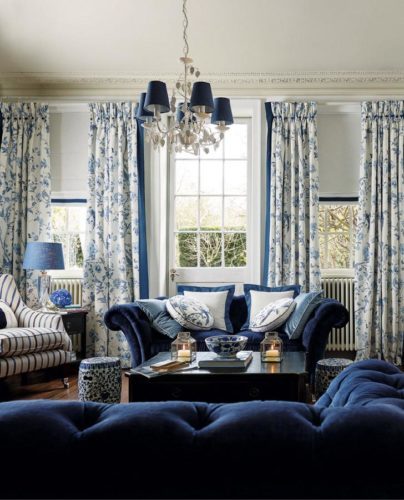 Drapes in Laura Ashley Summer Palace in this perfect Blue and White Living Room