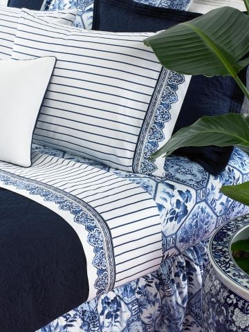 Ralph Lauren Jonquil Striped Sheets and pillow cases, Palm Harbor dust ruffle with solid navy coordinates
