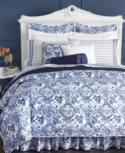 Bed made with Ralph Lauren Bedding in Porcelain Blue. I think the Sheets are the Dorsey pattern. The comforter is Ralph Lauren Palm Harbor. - Ralph Lauren Chinoiserie
