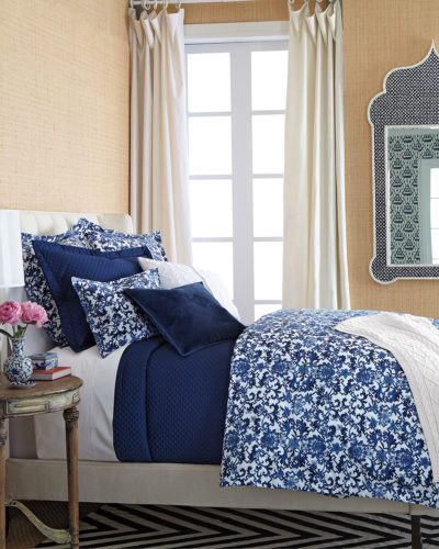 Ralph Lauren Home Dorsey Duvet Cover with coordinating pillows and covers - Ralph Lauren Home Dorsey Collection included a duvet cover and shams sized European, standard and King-sized. This bed is made with crisp white linens and a navy quilted throw.