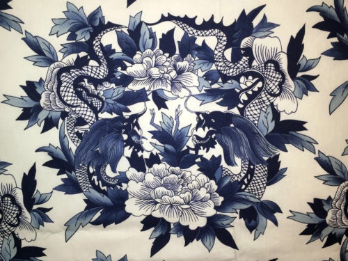 Ralph Lauren Chinese Pattern in Blue and White with stylized flowers, leaves and Chinese dragons or sea serpents - Ralph Lauren Chinoiserie