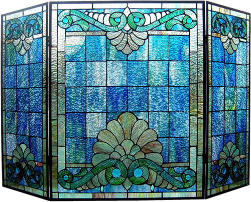Chloe Keanu 3-Panel Folding Tiffany-Style Fireplace Screen - Eye-catching and Practical Fireplace Screens – my Design42