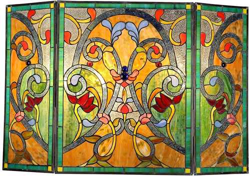 Chloe Myrtle 3-Panel Folding Tiffany-Style Fireplace Screen - Eye-catching and Practical Fireplace Screens – my Design42