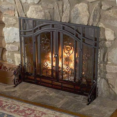 Beveled Glass Diamond Fireplace Screen from Plow & Hearth - Eye-catching and Practical Fireplace Screens – my Design42