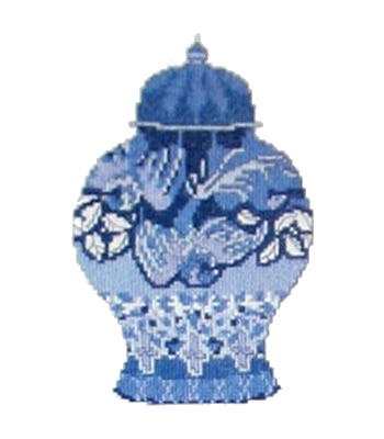 Blue and White Chinoiserie Ginger Jar Cross Stitch Project from Cross-Stitch in Blue & White by Trice Boerens, Debra Wells, Gloria Judson and Terrece Beesley