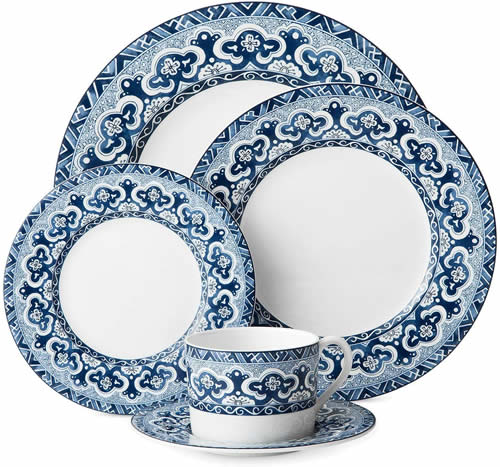 Ralph Lauren Empress 5 Piece Place Setting - Ralph Lauren Blue and White Chinoiserie Fine China Dinnerware- my Design42