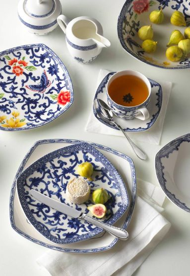 Ralph Lauren Mandarin Blue Square and Mandarin Blue Floral Square Fine China - Ralph Lauren Blue and White Chinoiserie Fine China Dinnerware- my Design42