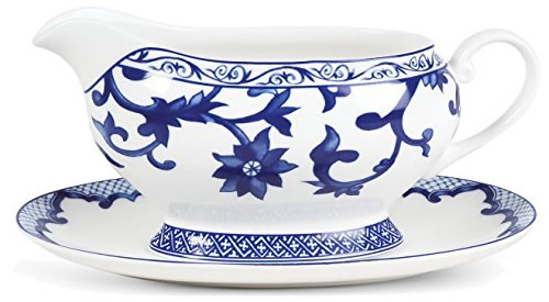 Ralph Lauren Mandarin Blue Gravy Boat with Tray - Ralph Lauren Blue and White Chinoiserie Fine China Dinnerware- my Design42