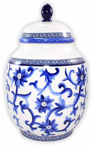 Ralph Lauren Mandarin Blue Large Ginger Jar Canister - Ralph Lauren Blue and White Chinoiserie Fine China Dinnerware- my Design42