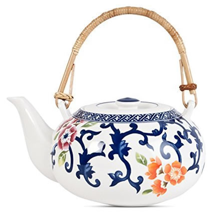 Ralph Lauren Mandarin Blue Floral Oriental Teapot - Ralph Lauren Blue and White Chinoiserie Fine China Dinnerware- my Design42