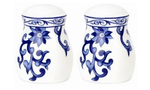 Ralph Lauren Mandarin Blue Salt and Paper Shaker Set - Ralph Lauren Blue and White Chinoiserie Fine China Dinnerware- my Design42