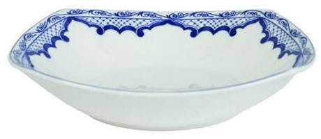 Ralph Lauren Mandarin Square Soup Bowl - Ralph Lauren Blue and White Chinoiserie Fine China Dinnerware- my Design42