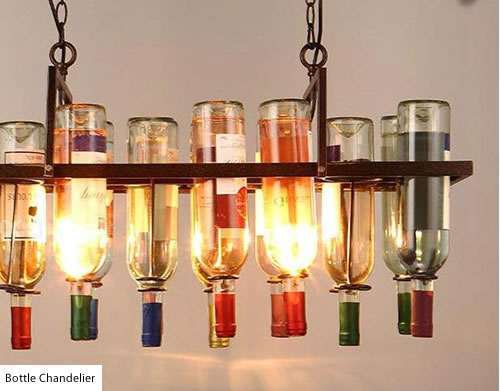 Long Island Bottle Chandelier with rings to suspend bottles - Wine Bottle Chandeliers – myDesign42