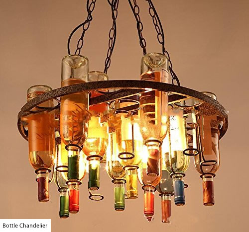 Round Bottle Chandelier with rings to suspend bottles - Wine Bottle Chandeliers – myDesign42