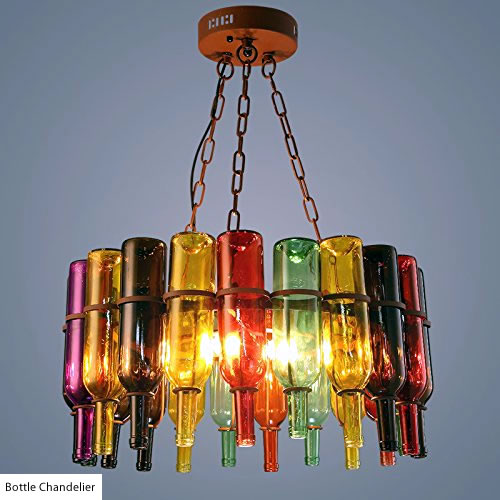 Round Bottle Chandelier with brightly colored bottles - Wine Bottle Chandeliers – myDesign42