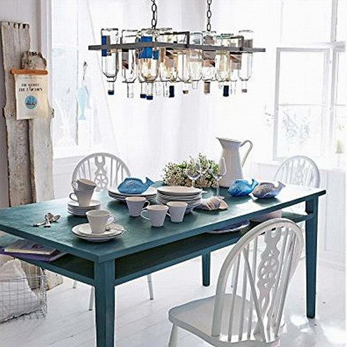 Long Rectangular Bottle Chandelier in a Farmhouse Dining Room - Wine Bottle Chandeliers – myDesign42