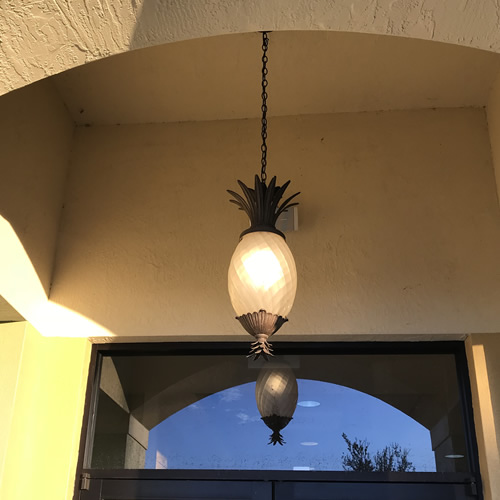 Plantation Hanging Lantern from Hinkley Lighting - Pineapple Lighting at Pollo Tropical – myDesign42