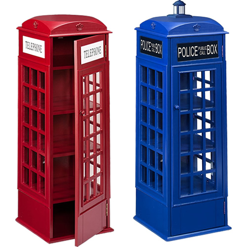 Harper Blvd OS1367ZH or Southern Enterprises AMZ1367ZH Red Phone Booth Storage Cabinet turned into a Doctor Who Police Box