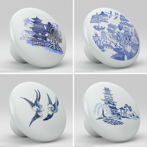 Go Trendy Home Cobalt Blue Willow China Pattern Cabinet Hardware - Blue Willow Cabinet Pulls and Handles – myDesign42