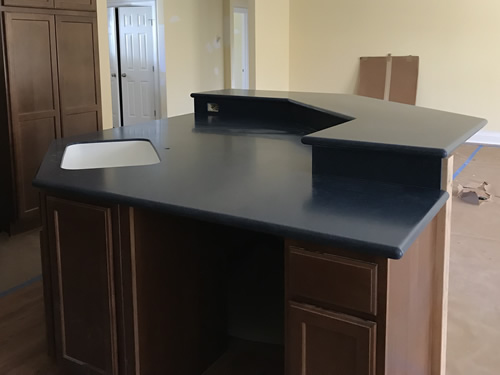 Cobalt Blue Corian Countertop - Progress on our new kitchen - Blue Willow Cabinet Pulls and Handles – myDesign42