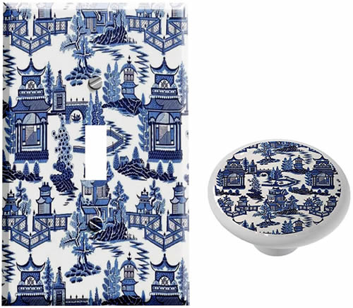Gotham Decor Store Blue Willow Switch Plate Cover and Cabinet Knobs