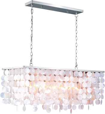 Rectangular Pendant from Vaxcel's Elsa Collection with Capiz shell - Capiz Chandeliers, Natural & Fresh