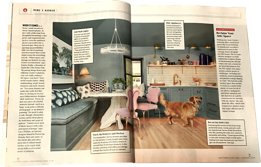 Add Wall Lights, Bet on One Bold Color and more... Pretty Snug, Southern Living January 2019 - Rules for Cottage Style— My Design42