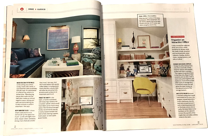 Match the Sofa to the Walls and Organize and Attractive Office Pretty Snug, Southern Living January 2019 - Rules for Cottage Style— My Design42