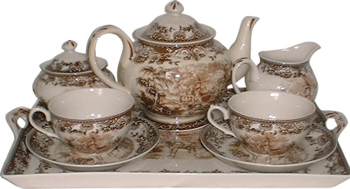 Brown and White Charleston or Carolina Pattern Antique Reproduction Transferware Porcelain Tea Set with Tray from the Madison Bay Company