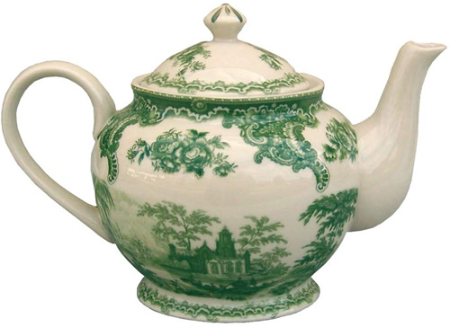 The teapot from the Gondola Green Pattern Antique Reproduction Transferware Porcelain Tea Set with Tray from the Madison Bay Company