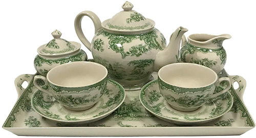 Gondola Green Antique Reproduction Transferware Porcelain Tea Set with Tray from the Madison Bay Company