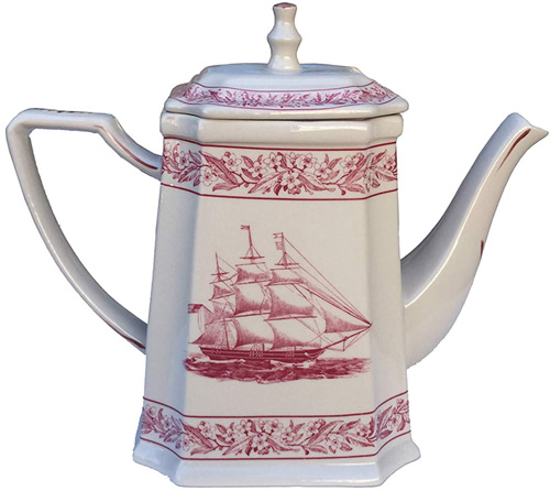 Alternate Red Nautical Rose Antique Reproduction Transferware Porcelain Teapot from the Madison Bay Company