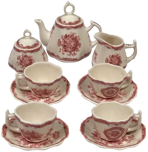 Red Rose Botanical Floral Antique Reproduction Transferware Porcelain Tea Set from the Madison Bay Company