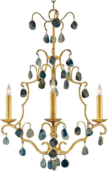 Kathy Kuo Home 022693 Bergman Regency Blue Agate Gold Leaf Chandelier  - Enhance Your Home with Blue Agate –A Beautiful Natural(ish) Mineral – myDesign42