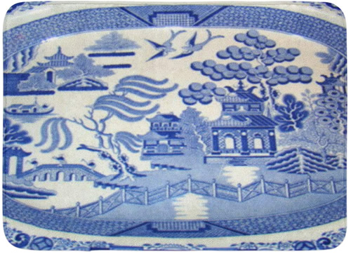 Blue Willow Platter - Blue and White Chinoiserie Memory Foam Mats