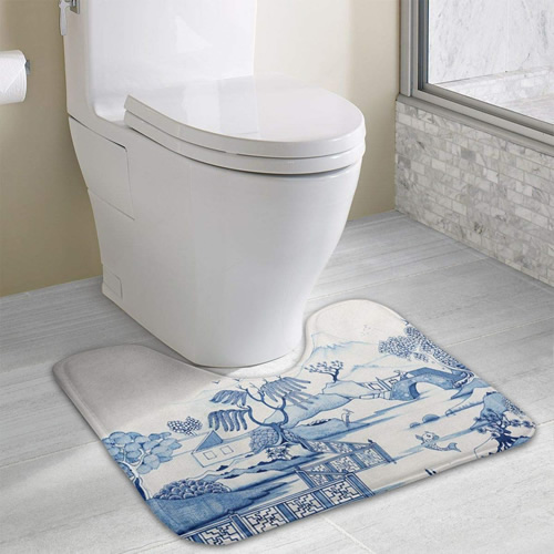 Blue Willow Scene Toilet Mat - Blue Willow Memory Foam Contour Toilet Mats