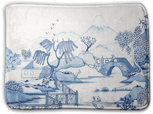 Blue Willow Scene - Blue and White Chinoiserie Memory Foam Mats