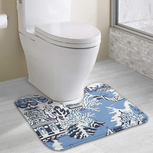 Blue Willow Pagoda Pattern Memory Foam Contour Mat - Blue Willow Memory Foam Contour Toilet Mats