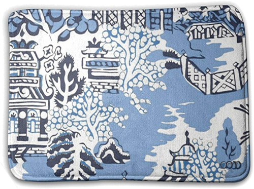 Blue Willow Pagoda - Blue and White Chinoiserie Memory Foam Mats