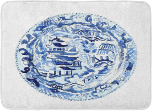 Chinoiserie Medallion - Blue and White Chinoiserie Memory Foam Mats