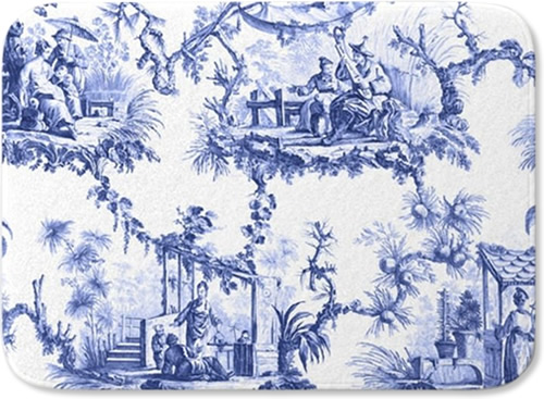 Chinoiserie Toile Landscape - Blue and White Chinoiserie Memory Foam Mats