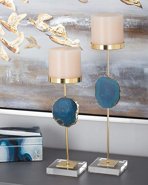 Candle Holders with Blue Agate Stone Accents - Enhance Your Home with Blue Agate –A Beautiful Natural(ish) Mineral – myDesign42